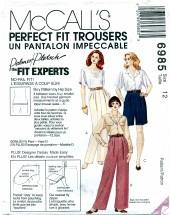 McCall's 6985 PALMER & PLETSCH Pants Shorts Fitting Shell Size 12