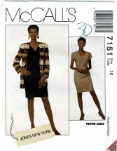 McCall's 7151 Lined Cardigan & Dress Size 16 - Bust 38