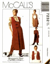 McCall's 7232 Sewing Pattern Misses Unlined Vests Size 10 - 12 - 14