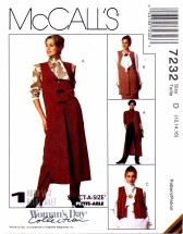 McCall's 7232 Sewing Pattern Misses Unlined Vests Size 12 - 16 - Bust 34 - 38