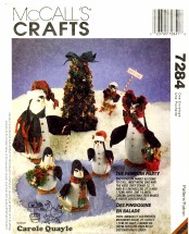 McCall's 7284 Crafts Sewing Pattern Penguins & Tree