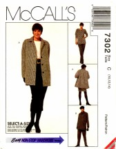 McCall's 7302 Jacket Tunic Pants Skirt Size 10 - 14