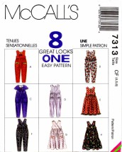 McCall's 7313 Sewing Pattern Girls Jumpsuit Jumper Scarf Size 4 - 5 - 6