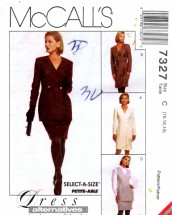 McCall's 7327 Sewing Pattern Draped Dress Jacket Vest Skirt Suit Size 10 - 12 - 14