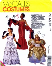 McCall's 7345 Sewing Pattern Girls Costumes Southern Belle Princess Bride Glamour Girl Fairy Size 5 - 6