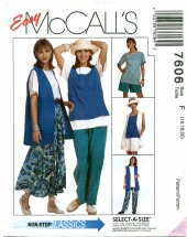McCall's 7606 Vest Top Skirt Pants Shorts Size 16 - 20