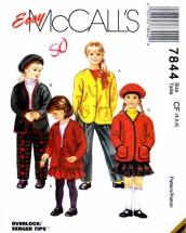 McCall's 7844 Sewing Pattern Girls Cardigan Pants Skirt Beret Size 4 - 5 - 6