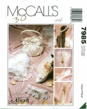 McCall's 7985 Wedding Garter Pillow Wreath Bouquet Gloves Purse Gauntlet Shoe Clips