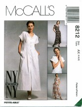 McCall's 8212 Front Buttoned Dresses Size 4 - 8