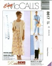 McCall's 8617 Shirt Pants Skirt Size 10 - 14 - Bust 32 1/2 - 36