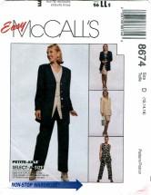 McCall's 8674 Misses Jacket Vest Pants Skirt Size 12 - 16