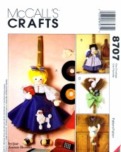 McCall's 8707 Crafts Sewing Pattern Broom Dolls Wall Decor