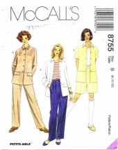 McCall's 8755 Jacket Pants Shorts Size 8 - 12 - Bust 31 1/2 - 34
