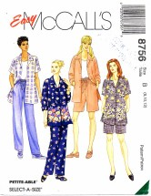 McCall's 8756 Shirt Pants Shorts Size 8 - 12 - Bust 31 1/2 - 34