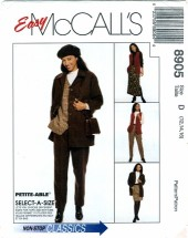 McCall's 8905 Misses Jacket Vest Pants Skirt Size 12 - 16