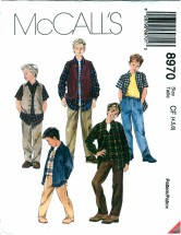 McCall's 8970 Boys Vest Shirt Pants Size 4 - 6