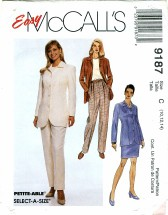 McCall's 9187 Misses Unlined Jacket Pants Skirt Size 10 - 14