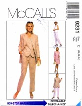 McCall's 9231 Jacket Vest Pants Skirt Suit Size 10 - 14 - Bust 32 1/2 - 36