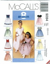 McCall's 9284 Girls Dress with Double Layer Skirt Dress Size 2 - 4