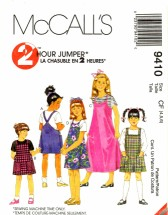 McCall's 9410 Girls Square Neck Jumpers Size 4 - 6