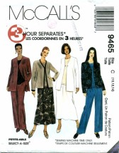 McCall's 9465 Jacket Top Pants Skirt Size 10 - 14 - Bust 32 1/2 - 36