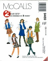 McCall's 9496 Girls 2 Hour Skirt & Vests Size 12 - 16