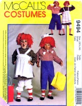 McCall's 9494 Sewing Pattern Adult Raggedy Ann Andy Costumes Bust / Chest 32 1/2 - 34