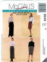McCall's 9549 Palmer & Pletsch 1 Hour Skirts Size 22