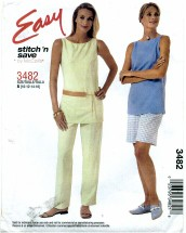 McCall's 3482 Top Pants Shorts Size 10 - 16 - Bust 32 1/2 - 38