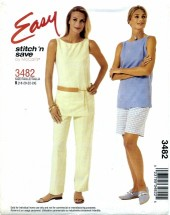 McCall's 3482 Top Pants Shorts Size 18 - 24 - Bust 40 - 46