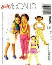 McCall's 3605 Sewing Pattern Girls Tops Bikini Top Capri Pants Shorts Skort Size 6 - 7 - 8