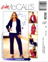 McCall's 3638 Dress Shirt-Jacket Top Capri Pants Shorts Size 8 - 12 - Bust 31 1/2 - 34
