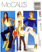 McCall's 3657 Sewing Pattern Misses Below Waist Low Rise Pants Size 6 - 12