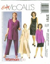 McCall's 3791 Duster Jacket Top Pants Skirt Plus Size 18 - 24