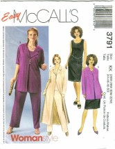 McCall's 3791 Duster Jacket Top Pants Skirt Plus Size 26 - 32