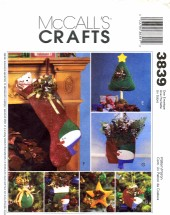 McCall's 3839 Crafts Sewing Pattern Christmas Decorations