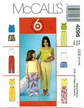 McCall's 4096 Tops Shorts Pants Size 3 - 6
