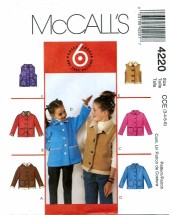 McCall's 4220 Jackets & Vests Size 3 - 6