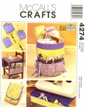 McCall's 4274 Crafts Sewing Pattern Fat Quarters Organizers Pincushion