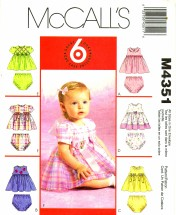 McCall's 4531 Sewing Pattern Infants Baby Dress Panties