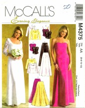 McCall's 4375 Bridal Formal Prom Tops Skirt Size 6 - 12