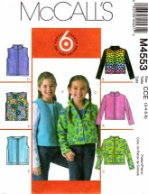 McCall's 4553 Jackets & Vests Size 3 - 6