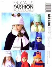 McCall's 4680 Sewing Pattern Childrens Hats Scarves Mittens