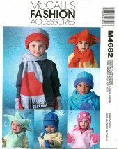 McCall's 4682 Sewing Pattern Infants Toddlers Scarves & Mittens Size XS - XL