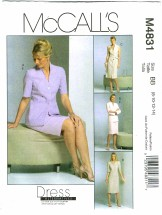 McCall's 4831 Misses Jacket Dress Tie Belt Skirt Size 8 - 14