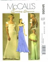 Misses Poncho Draped Bridesmaid Prom Formal Dress Size 12 - 18 McCall's 4966 Sewing Pattern