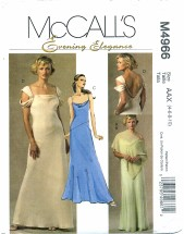 Misses Poncho Draped Bridesmaid Prom Formal Dress Size 4 - 10 McCall's 4966 Sewing Pattern