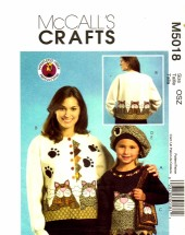 McCall's 5018 Crafts Sewing Pattern Kitty Appliques Beret Purse Pin