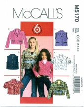 McCall's 5170 Unlined Vests & Jackets Size 3 - 6