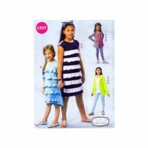 Girls Cardigan Dresses Leggings Belt Headband McCalls 6949 Sewing Pattern Size 3 - 4 - 5 - 6